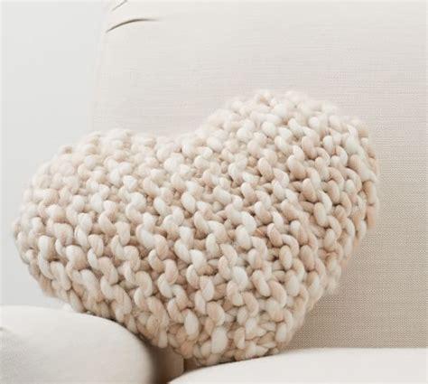cozy heart shaped knit pillow pottery barn
