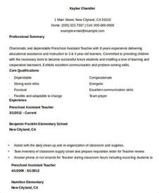 Resume Cover Letter Preschool Assistant Resume Sle 28 Free Word Pdf Documents