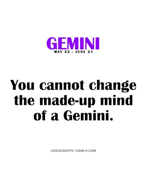you cannot change the made up mind of a gemini my