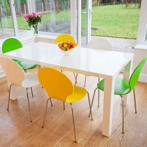 White Dining Table And Coloured Chairs Modern White Dining Tables And Trendy Coloured Chairs Danetti Lifestyle