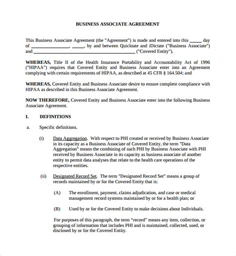 baa agreement template business associate agreement sles business associate