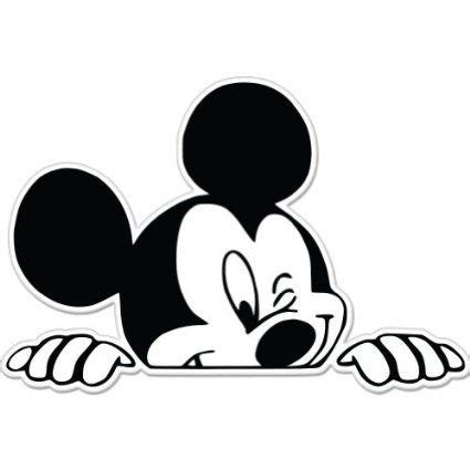 mickey mouse imagenes blanco y negro amazon com mickey mouse wink peeking car sticker decal 5