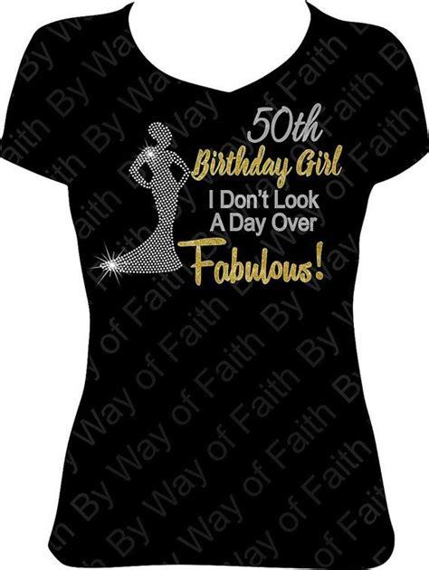 Tshirt Cac New Desain 50th birthday bling rhinestone glitter shirt gifts