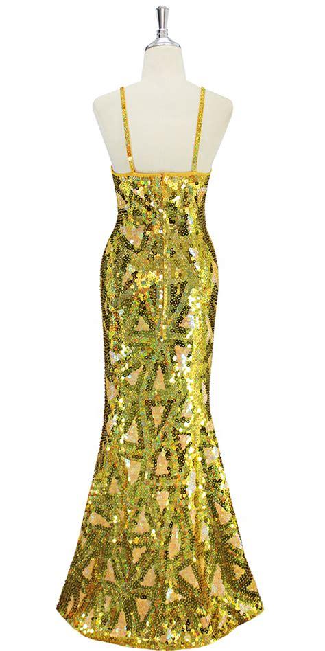 pattern gold sequin dress long dress handmade swirl pattern 10mm flat sequin