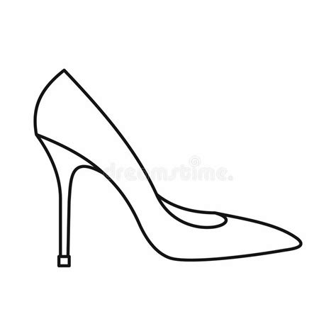 High Heel Shoes Outline by Shoe With High Heels Icon Outline Style Stock Vector Image 82481260