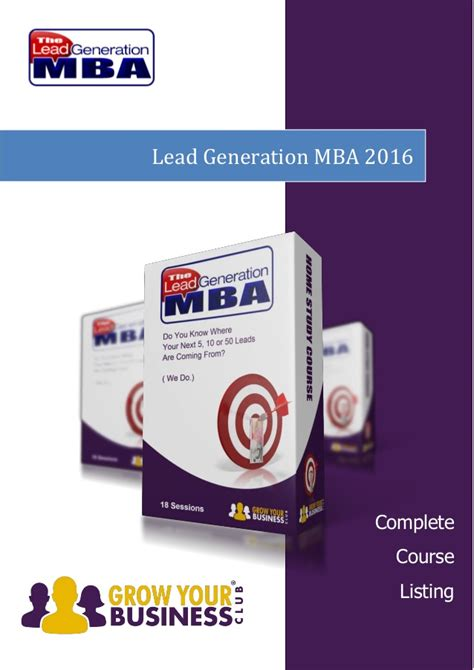 Lead Mba by Home Study Marketing Course Lead Generation Mba 2016