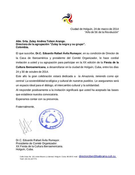 carta de rechazo de invitacion en ingles carta de invitacion festival iberoamericano de cultura holguin cuba