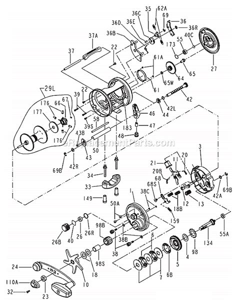 penn reel diagrams penn 975 parts list and diagram ereplacementparts