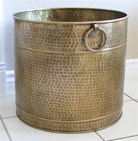 Large Brass Planter by Large Brass Planter Hammered Finish