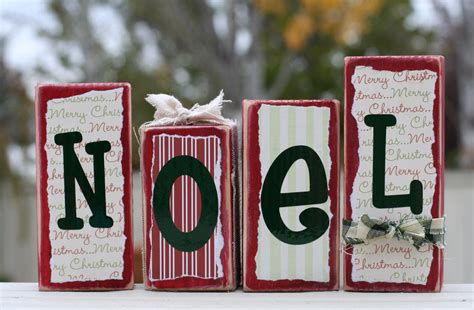noel wood block set country christmas decor