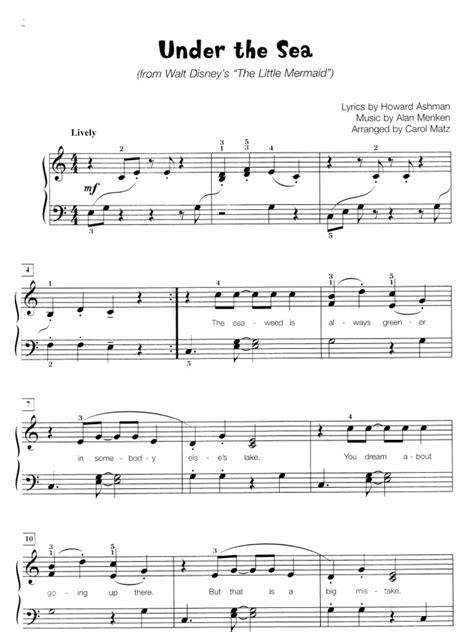 piano tutorial under the sea under the sea sheet music