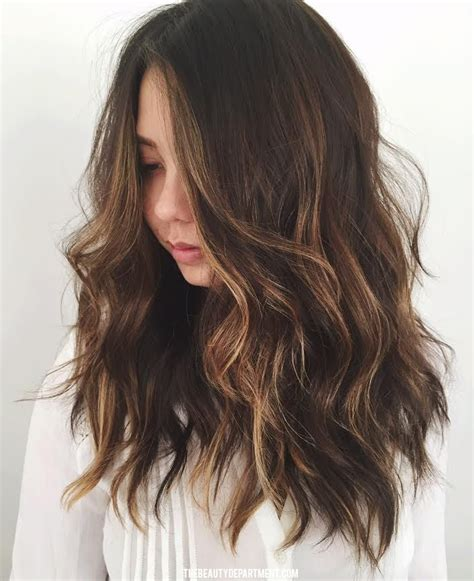 medium hairstyles with partial highlights subtle balayage brunette www pixshark com images