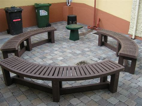 semi circular garden bench garden furniture recycled plastic decking murray s