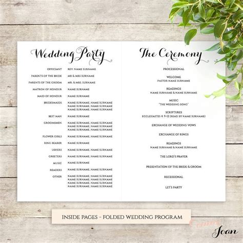 sle wedding ceremony program template byron printable wedding order of service template