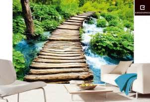 Nature Wall Mural Wooden Bridge Nature Wall Mural Art Pinterest