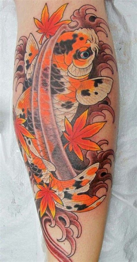 japanese maple leaf tattoo amazing koi fish with japanese maple leaves ink