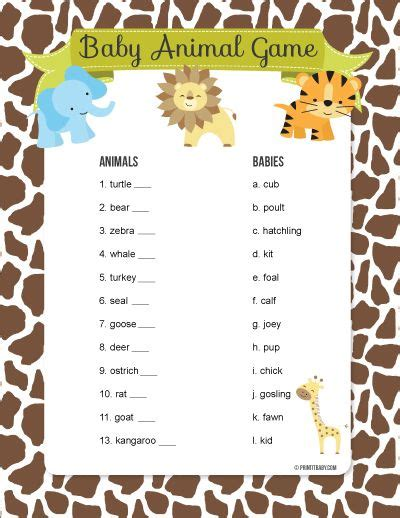 printable baby animal game instant download printable baby shower game pack with