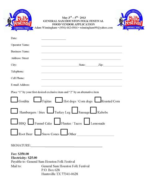 General Sam Houston Folk Festival Food Vendor Application Craft Vendor Application Template