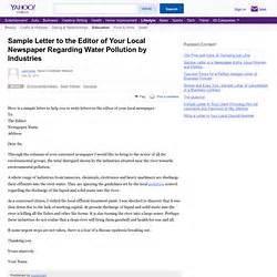 Complaint Letter Newspaper Editor Formal Letter To Editor Of Newspaper About Pollution Formal Letter Template