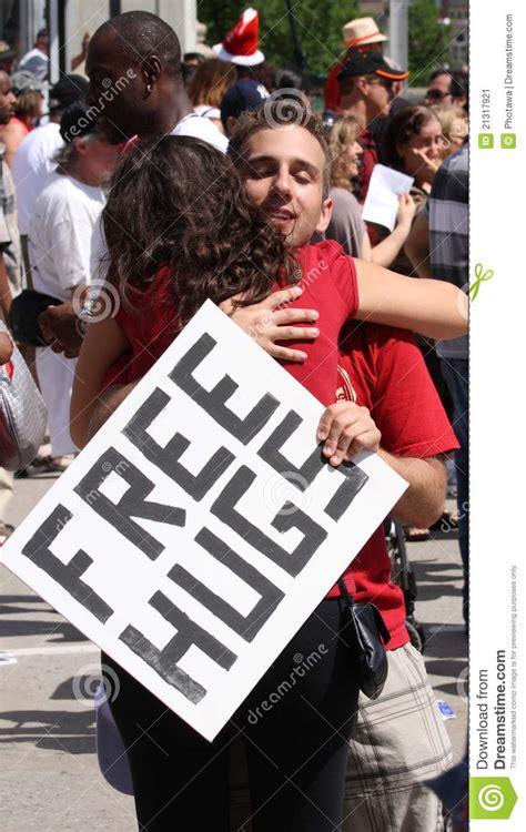 free hug guy free hugs guy hugging woman editorial photo image 21317921