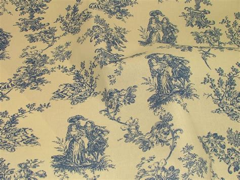 toile de jouy curtains blue blue natural cream linen look toile de jouy curtain
