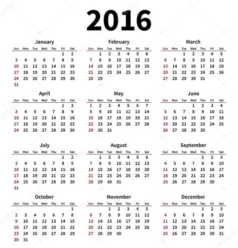 2016 calendar free printable this little street calendario 2016 simple sobre fondo blanco vector de