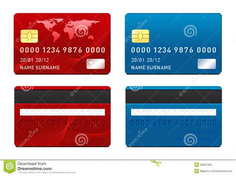 Visa Credit Card Template Vector Vector Credit Card Template Stock Vector Image 30821959