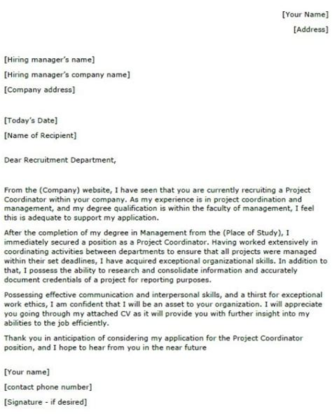 cover letter for project coordinator position project coordinator cover letter exle lettercv