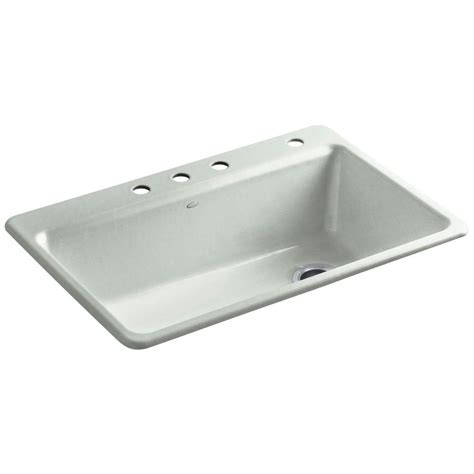 Kohler Kitchen Sink Accessories Kohler Riverby Drop In Cast Iron 33 In 4 Single Basin Kitchen Sink Kit With Accessories In