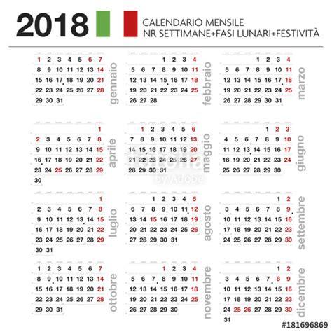 calendario con settimane quot calendario mensile italiano 2018 con lune festivit 224 e nr