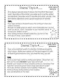 4th Grade Common Core Winter Writing Journal Set Task