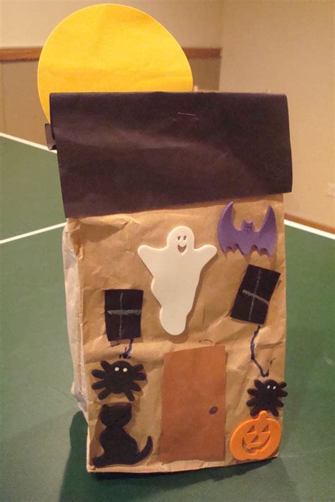 Paper Bag House Craft - paper bag haunted house fall