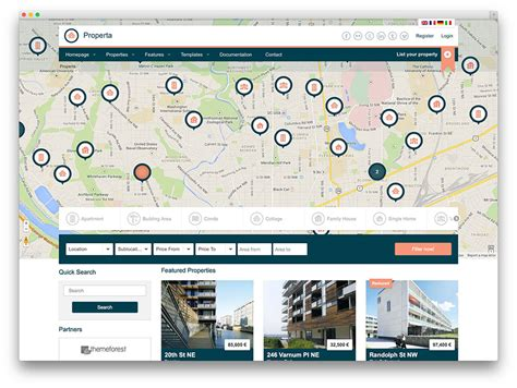 bootstrap themes free map 40 best real estate wordpress themes for agencies
