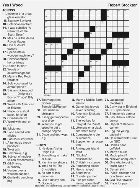 Large Print Free Printable Crossword Puzzles For Seniors