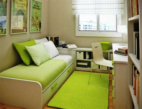 Small Space Apartment Ideas Small Home Office Guest Room Ideas With Green Bed And Carpet Home Interior Exterior