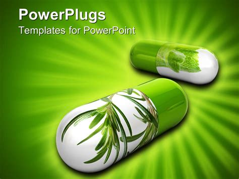herb powerpoint themes powerpoint template 3d representation of white and green