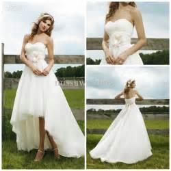 Front long back organza lace open back summer beach wedding dresses