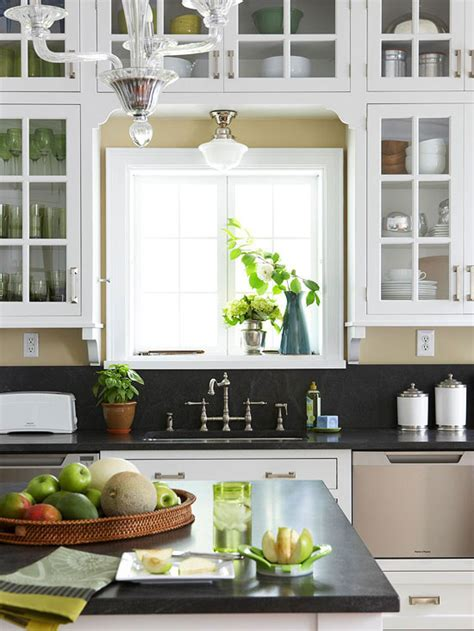 shelf over kitchen sink cottage kitchen cabinets over kitchen sink cottage kitchen bhg
