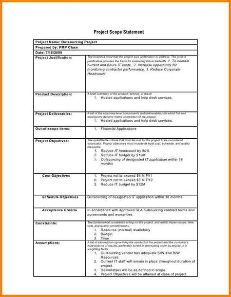 scope document template project scope statement template project scope template