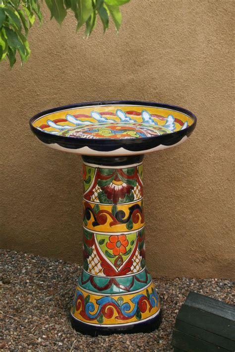 modern era talavera mexican pottery birdbath bought h e b