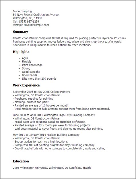 Painter Resume by Construction Painter Resume Template Best Design Tips