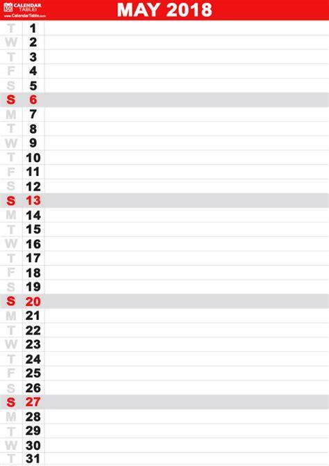printable calendar vertical list printable may 2018 calendar calendar table