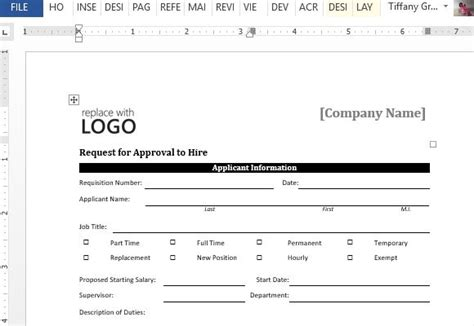 approval form template approval to hire sle form for word