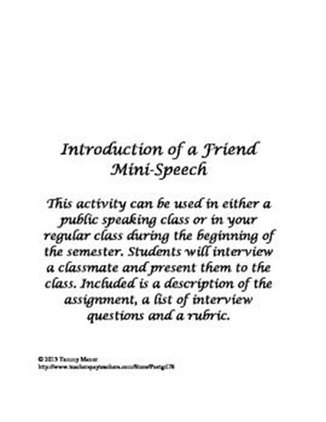 Introducing A Classmate Speech Outline by Friends And Rubrics On
