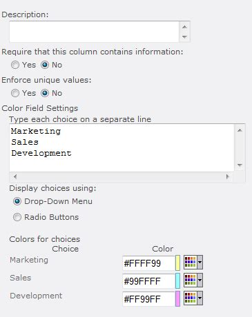 sharepoint choice indicator color code choices in list color field infowise ltd sharepoint web parts and