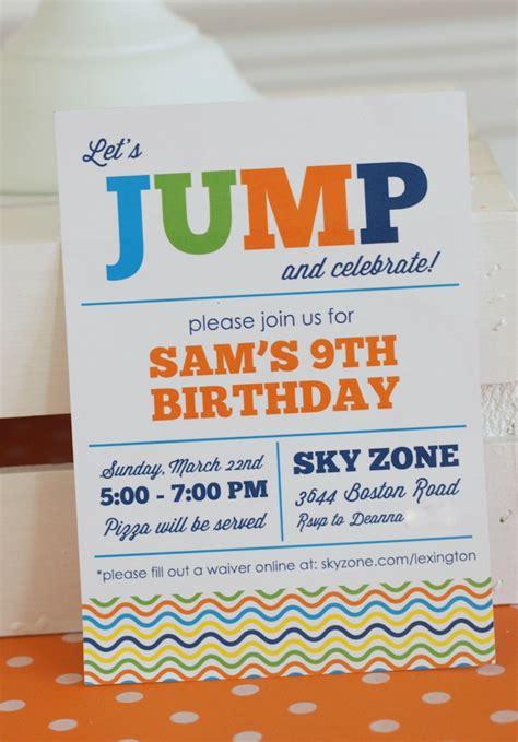 printable sky zone birthday invitations kara s party ideas colorful troline jump themed