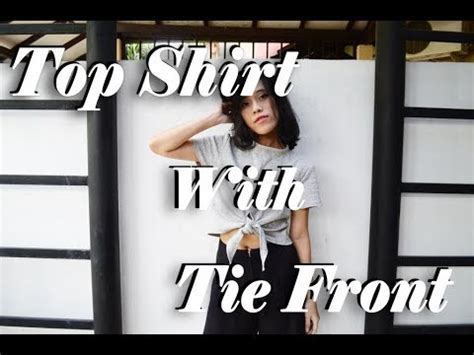 Kaos Baju Tie tutorial top shirt with tie front croptie cara membuat
