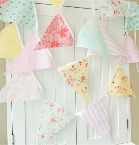 shabby chic fabric banner bunting pennant flags pink blue