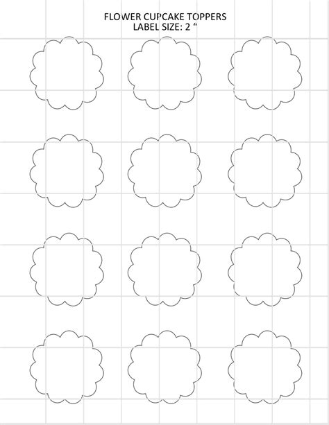 flower cupcake toppers template by alldigitalcalestore on etsy