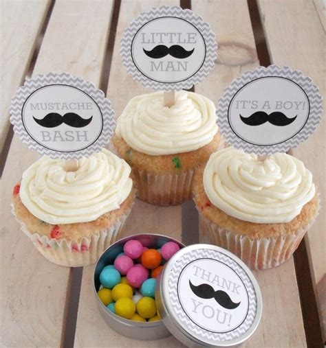 mustache baby shower diy cupcake toppers 5 00 via etsy things